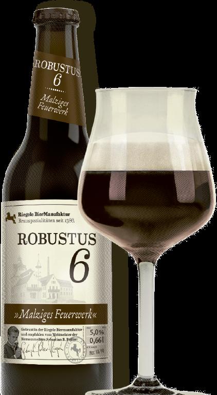 Hier ist eine Flasche Robustus 6 mit einem Sommelierglas
