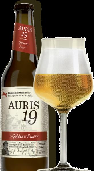 Hier ist eine Flasche Auris 19 mit einem Sommelierglas