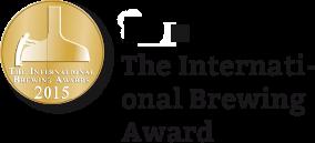 """Hier ist eine Medaille mit dem Text """"fünf mal International Brewing Award"""" daneben"""