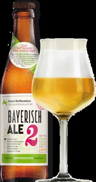 Hier ist eine Flasche Bayerisch Ale 2 mit einem Sommelierglas