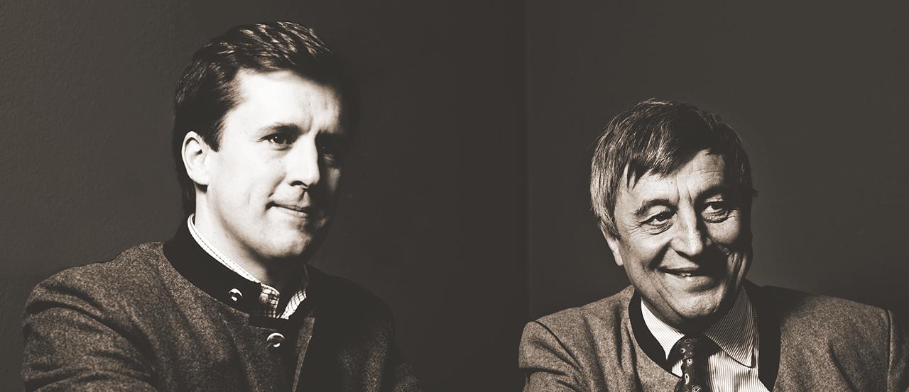 Hier ist ein schwarzweiß-Foto von Sebastian Priller und Doktor Sebastian Priller-Riegele