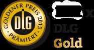 """Hier ist eine Goldmedaille der DLG mit dem Text """"152 mal Gold"""" daneben"""