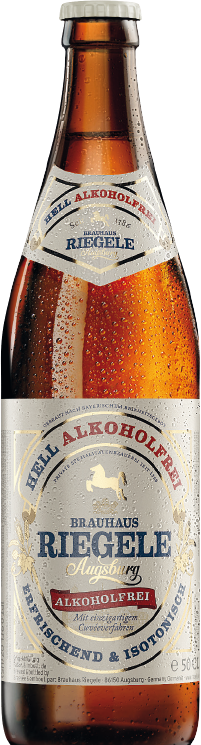 Hier ist eine Flasche Riegele Alkoholfrei