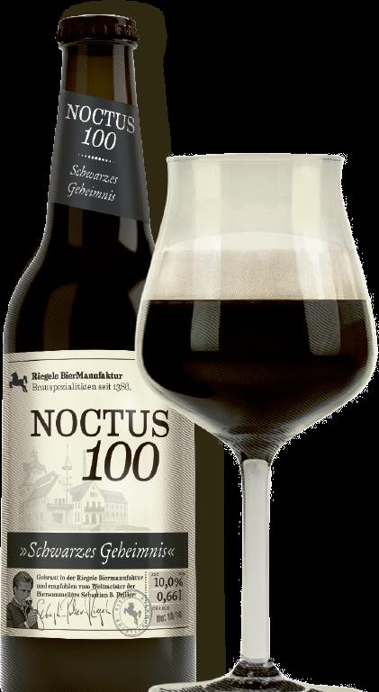 Hier ist eine Flasche Noctus 100 mit einem Sommelierglas