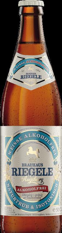 Hier ist eine Flasche Riegele Weisse Alkoholfrei