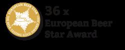 """Hier ist eine Medaille mit dem Text """"Sechsunddreißig mal European Beer Star Award"""" daneben"""