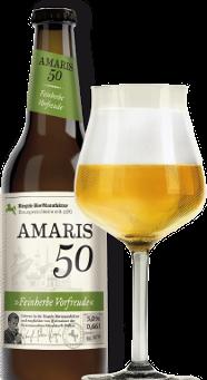 Hier ist eine Flasche Amaris 50 mit einem Sommelierglas
