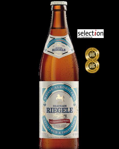 Hier ist eine Flasche Weisse Alkoholfrei mit dem Medaillen, die das Bier gewonnen hat