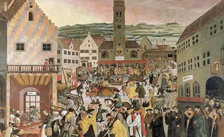 Hier ist ein Gemälde mit einer historischen Stadtszene vom Augsburger Rathausplatz